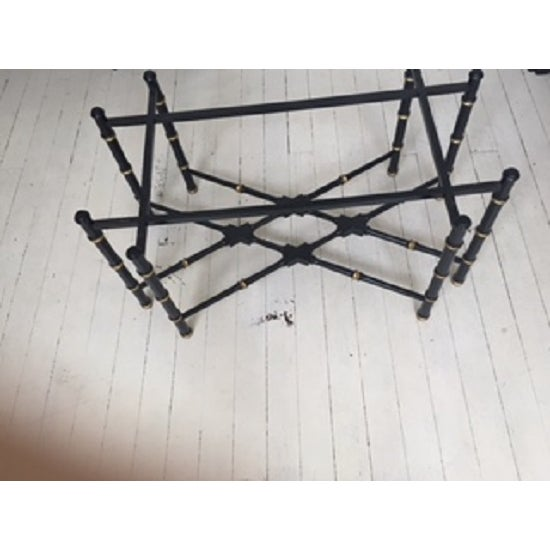 Hollywood Regency Hollywood Regency Brass & Faux Bamboo Coffee Table For Sale - Image 3 of 5
