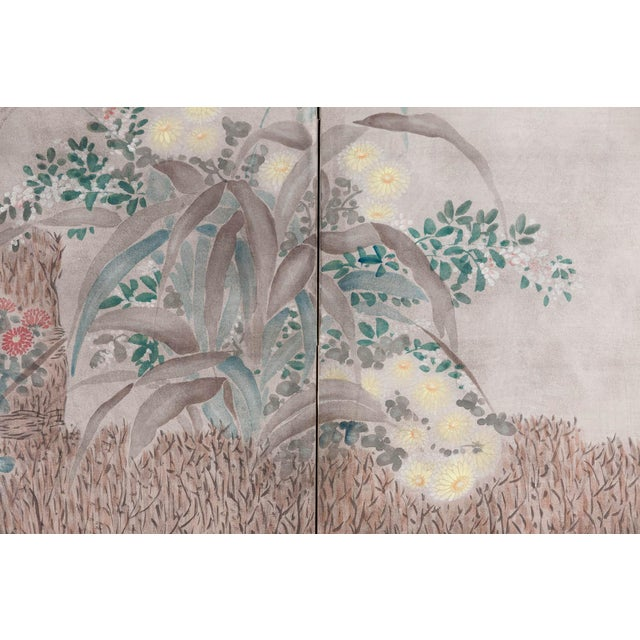 """Wood Sung Tze-Chin Large Chinoiserie Hanging Screen Ink on Paper """"Brushed Wood Fence With Chrysanthemum"""" 11 Feet Wide by 6 Feet Height For Sale - Image 7 of 11"""