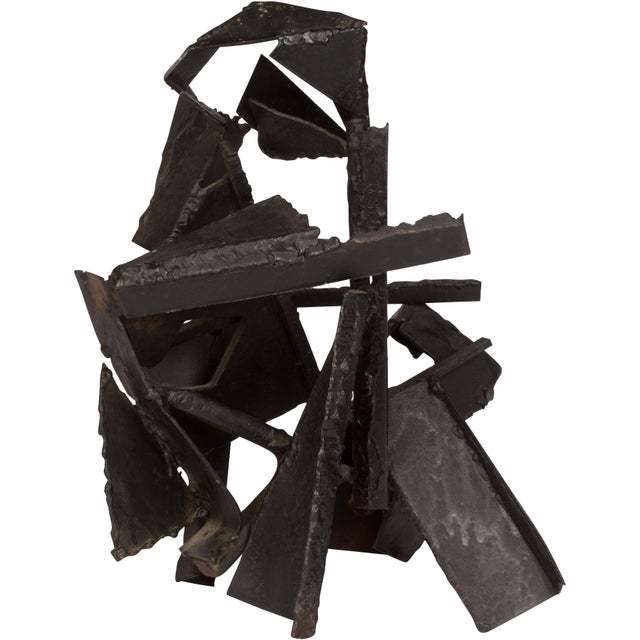 Brutalist Style Abstract Metal Sculpture For Sale - Image 4 of 5