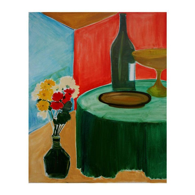 Flowers and Wine Still Life For Sale