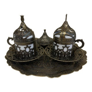 Vintage Oil Rubbed Turkish Coffee Set For Sale