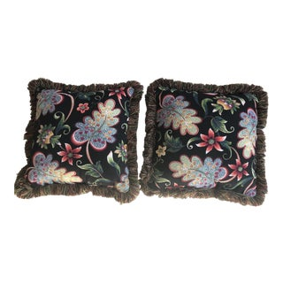 Black Fringed Floral Pillows - a Pair