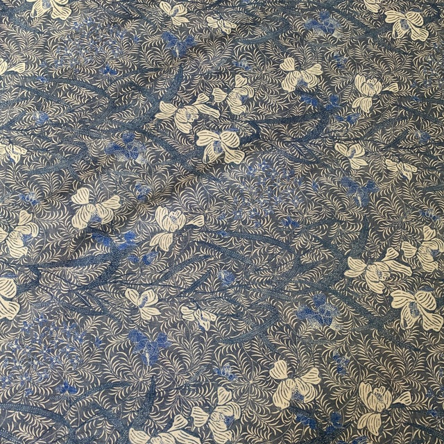 Designer Blue on Off White Ralph Lauren Printed Fabric- 1 1/4 Yards For Sale In New York - Image 6 of 7