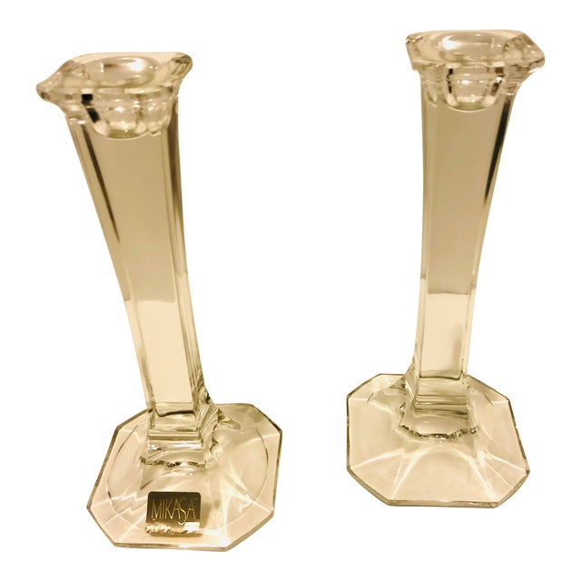 1990s Mikasa Crystal Hyde Park Collection Candleholders - a Pair For Sale