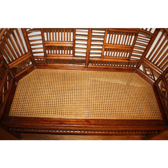 Vintage Mid Century Bamboo Rattan Pavilion Brighton Chinoiserie Chippendale Settee For Sale - Image 12 of 13