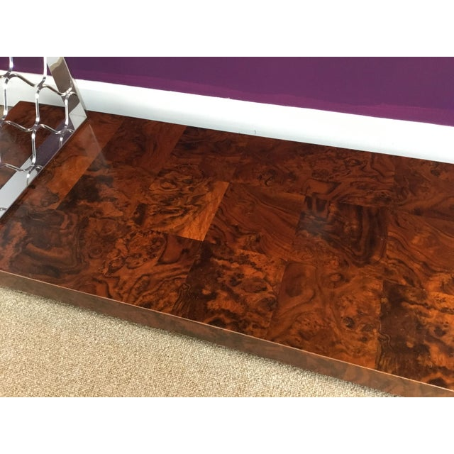 Modern Art Deco Style Universal Co. Burl Wood and Nickel Console Table For Sale In Atlanta - Image 6 of 8