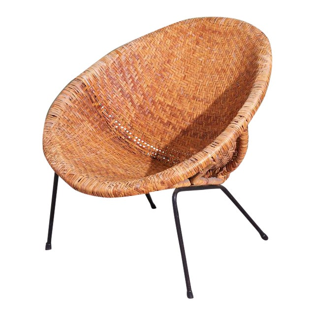 1960s Wicker and Iron Scoop Bucket Chair For Sale