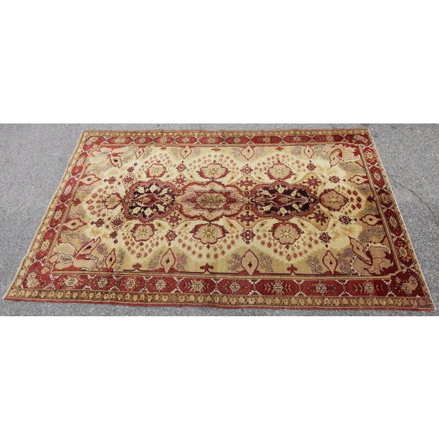Antique Turkish Oushak Hand Knotted Rug - 5'3 X 8'4 - Image 4 of 6