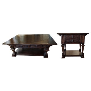 Traditional Taracea Loreto Coffee and Lamp Tables - a Pair For Sale