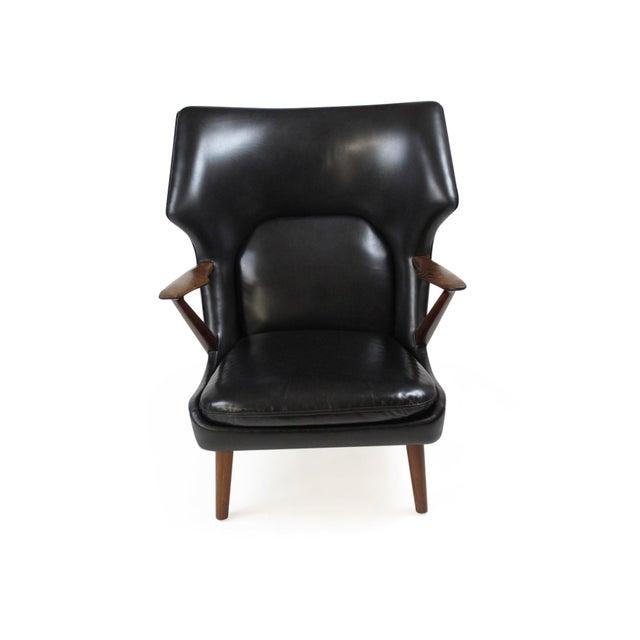 Slagelse Møbelværk Kurt Olsen Danish Rosewood Black Leather Bear Chair For Sale - Image 4 of 11