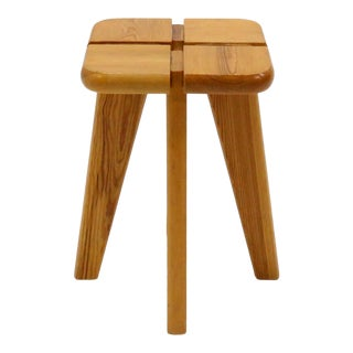 1960s Vintage Finnish Pine Stool For Sale