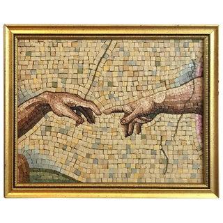 Grand Tour Micro Mosaic Detail of Michelangelo's Creazione DI Adamo For Sale