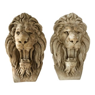 Vintage Roaring Lion Wall Decorations - a Pair For Sale