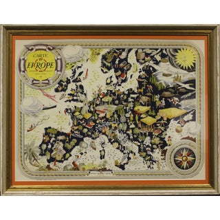 Carte D' Europe Map by Pierre Herault For Sale