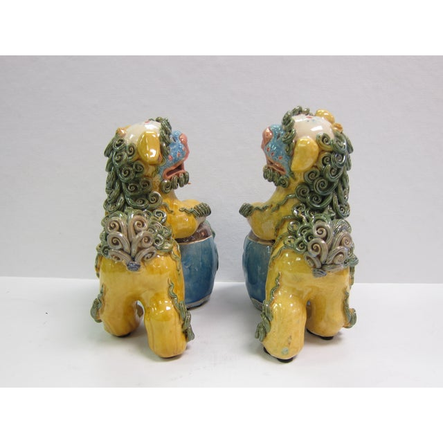 Vintage Bright Colored Foo Dogs With Drums - Pair - Image 3 of 6