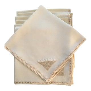 Belgian Cream Linen Napkins - Set of 8 For Sale