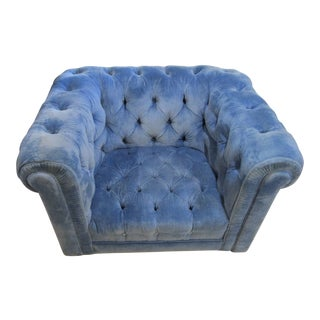 Vintage Mid Century Tufted Tuxedo Sky Blue Chesterfield Chair For Sale