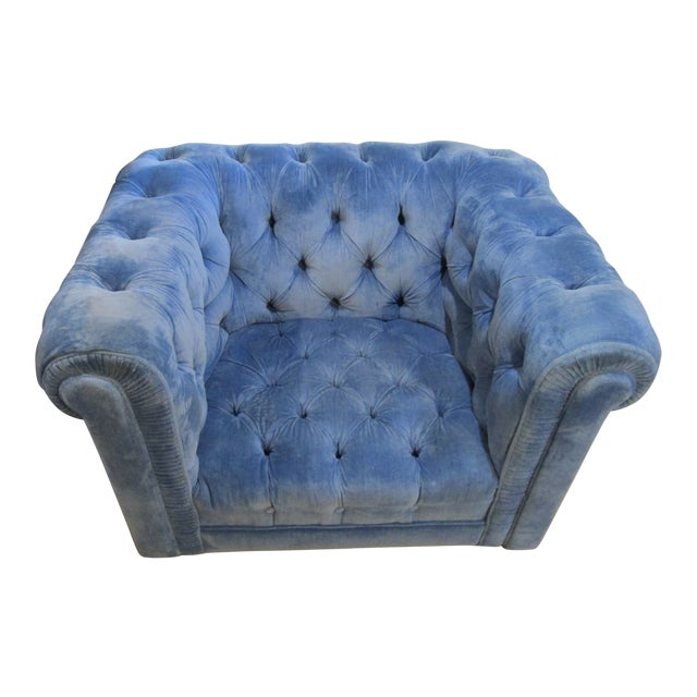 Image of Vintage Mid Century Tufted Tuxedo Sky Blue Chesterfield Chair