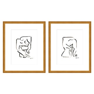"""Large """"Woman and Man, a Pair"""" Print by Sia Dzahn, 52"""" X 32"""" For Sale"""