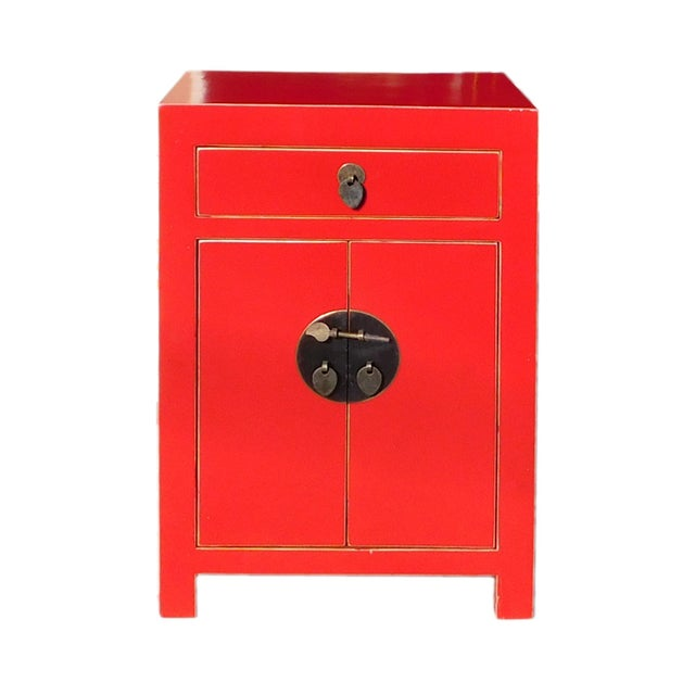 Chinese Red Round Moon Face Cabinet Side Table - Image 1 of 5
