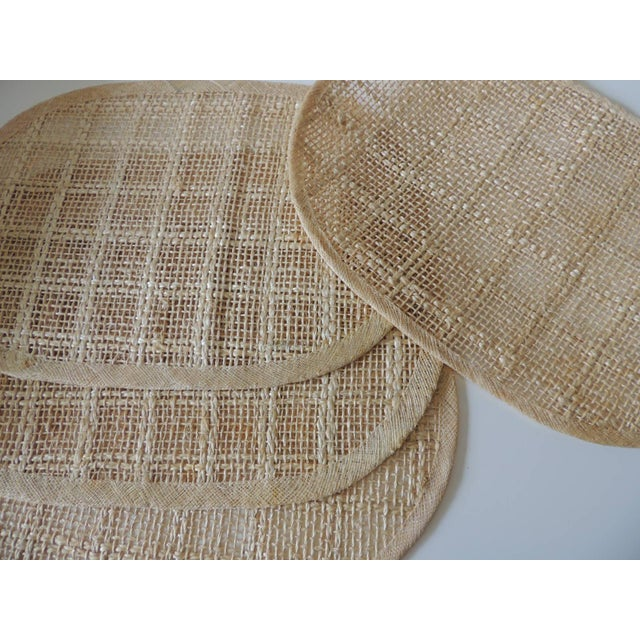 Vintage Set of (4) Woven Hemp and Raffia Oval Placemats For Sale - Image 4 of 6