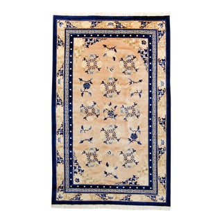 """1960s Vintage Chinese Botanical Champagne Blue Wool Hand-Knotted Rug - 5'1.5"""" X 8'1"""" For Sale"""