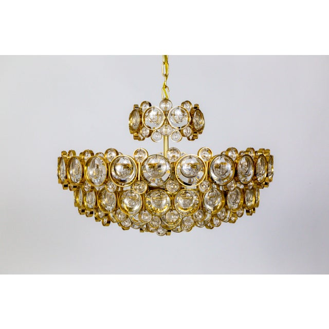 Circular Gilt Brass & Optical Lens Crystal Multi Tier Chandelier by Palwa For Sale - Image 13 of 13