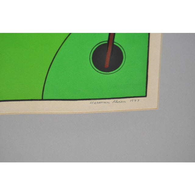 """Vintage Cubist Golf """"A Birdie"""" Silkscreen by Herman c.1977 For Sale - Image 4 of 7"""