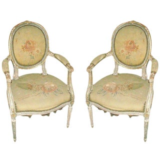Exquisite Louis XVI Style Painted and Gilded Armchairs For Sale