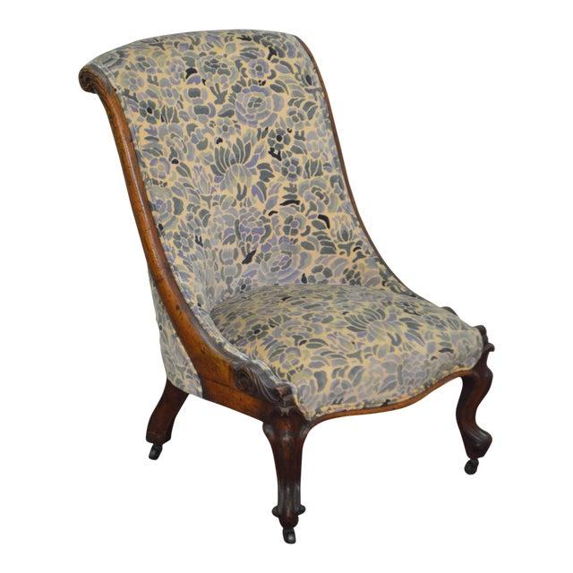 Antique Victorian Walnut Frame Slipper Chair - Image 1 of 11
