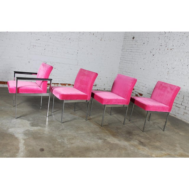 American of Martinsville Vintage American of Martinsville Mid Century Modern Hot Pink & Chrome Dining Chairs - Set of 4 For Sale - Image 4 of 11