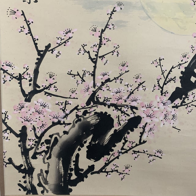 Paper 1950s Vintage Cherry Blossom and Moon Chinese Hanging Silk and Paper Scroll For Sale - Image 7 of 13