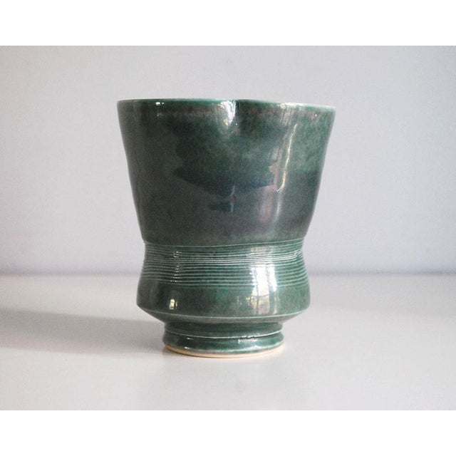 Mid 20th Century 20th Century Modern Green Porcelain Vase For Sale - Image 5 of 7