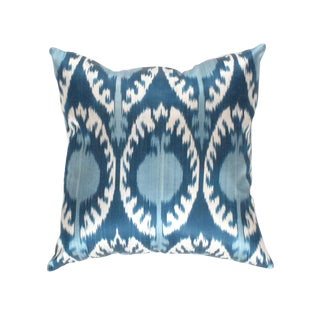 Boho Chic Pasargad Oasis Collection Silk Velvet Ikat Pillow For Sale
