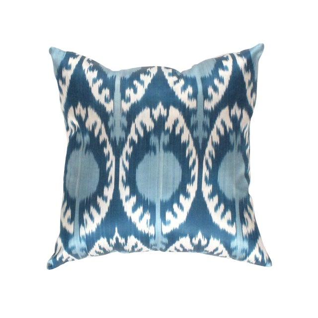 Boho Chic Pasargad Oasis Collection Silk Velvet Ikat Pillow For Sale