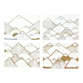 Contemporary Gold and Silver Gilt Mountains Paintings - Set of 4 For Sale