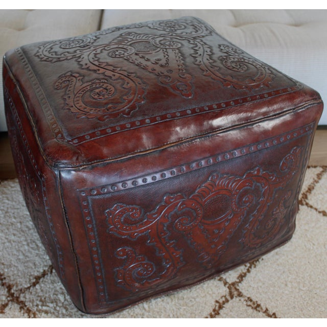 Extra Large Vintage Hand Tooled Peruvian Saddle Leather Angel Pazmino Style Ottoman For Sale - Image 11 of 12