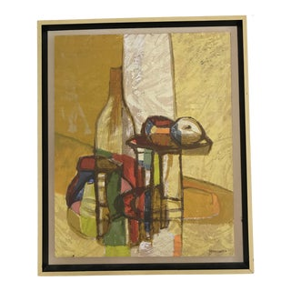 1950s Vintage Carole Moskowitz Abstract Still Life Serigraph Print For Sale