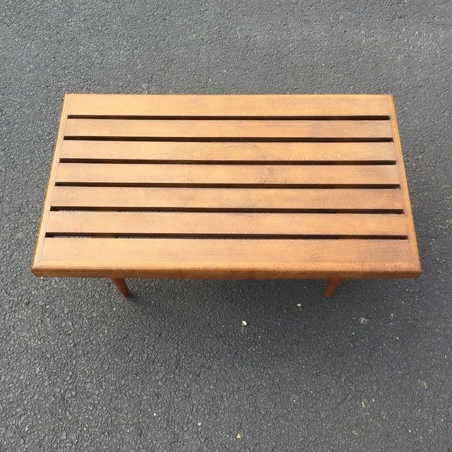 Mid-century Walnut Slat Rectangular End Table - Image 5 of 7