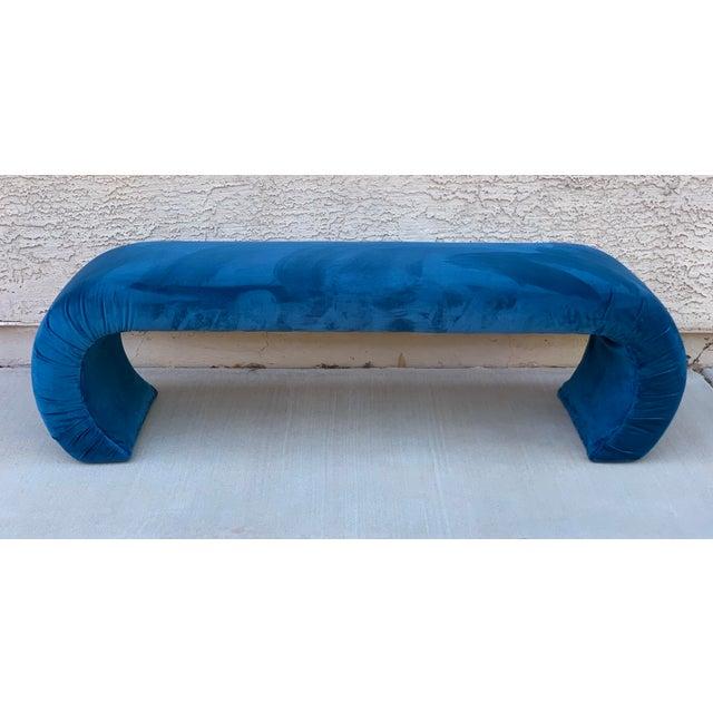 Wood Karl Springer Style Waterfall Bench in Teal Velvet For Sale - Image 7 of 8
