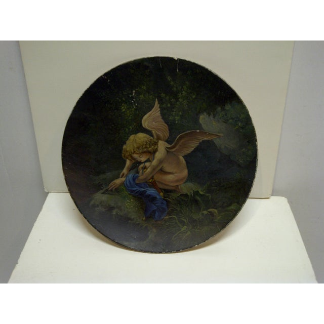 """1890 Vintage """"Little Angel"""" Decorative Plate For Sale In Pittsburgh - Image 6 of 6"""