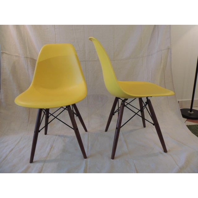 Mid-Century Modern Eames Style Yellow Molded Plastic Side Chairs - a Pair For Sale - Image 3 of 7