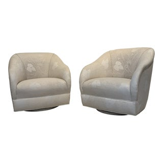 Upholstery Swivel Chairs the Style of Milo Baughman and Karl Springer - a Pair For Sale