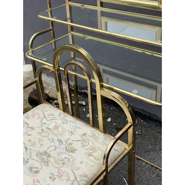 Mid Century Brass Vanity Table and Chair For Sale - Image 9 of 13