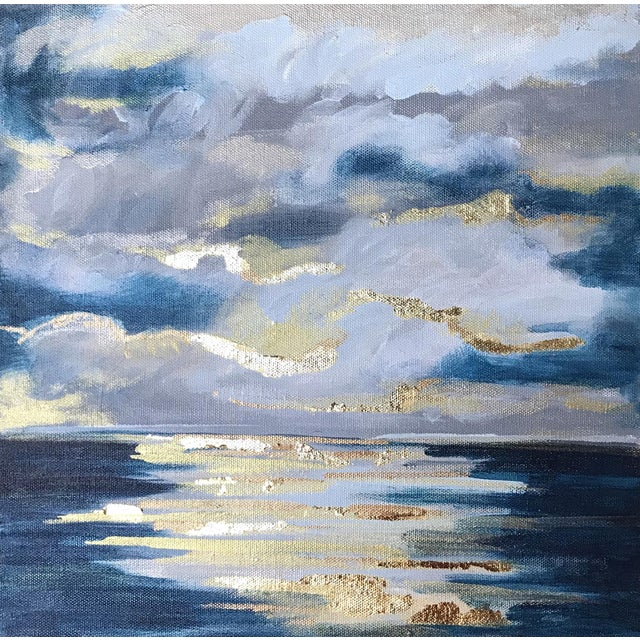 Blue 'At Sea' Original Abstract Landscape Painting by Linnea Heide For Sale - Image 8 of 8