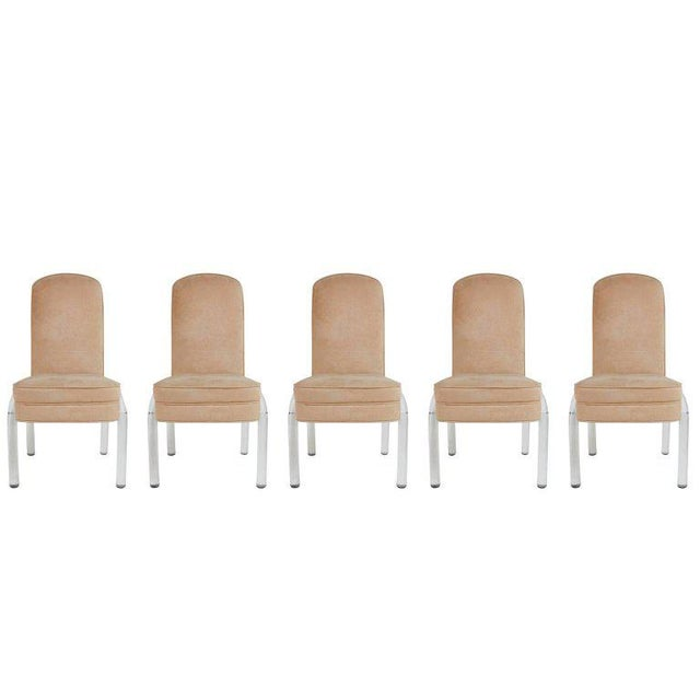 Fabric Lucite and Alcantara Dining Chairs, Circa 1970 - Set of 4 For Sale - Image 7 of 8