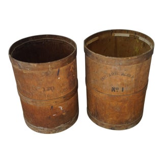 Antique Wooden Cylinder Barrels - a Pair For Sale