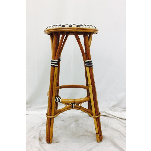 Fabric Vintage Italian Rattan Bistro Bar Stool For Sale - Image 7 of 7