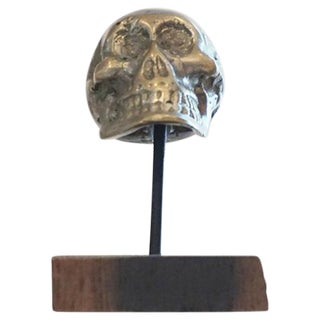 Antique Brass Skull on Walnut Base