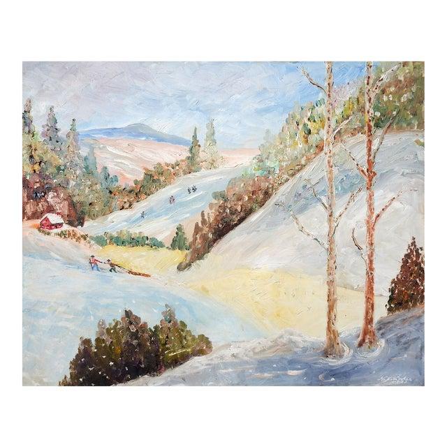 Vintage Folk Art Winter Scene Painting For Sale